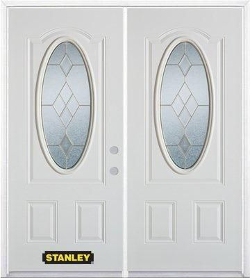 66-inch x 82-inch Tulip Oval 3/4-Lite White Double Steel Door with Astragal and Brickmould