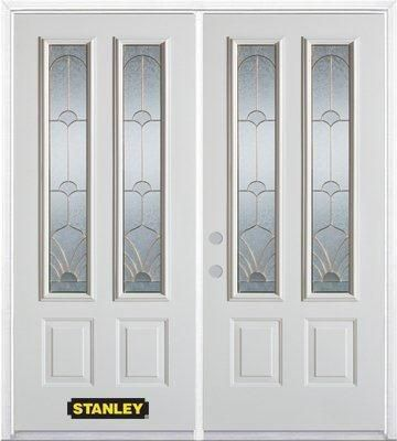 70-inch x 82-inch Florentine 2-Lite 2-Panel White Double Steel Door with Astragal and Brickmould