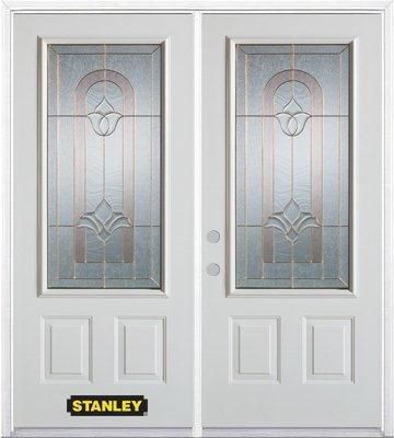 74-inch x 82-inch Marilyn 3/4-Lite 2-Panel White Double Steel Door with Astragal and Brickmould