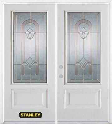 66-inch x 82-inch Marilyn 3/4-Lite 2-Panel White Double Steel Door with Astragal and Brickmould