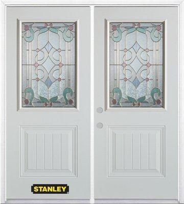 66-inch x 82-inch Aristocrat 1/2-Lite 1-Panel White Double Steel Door with Astragal and Brickmoul...