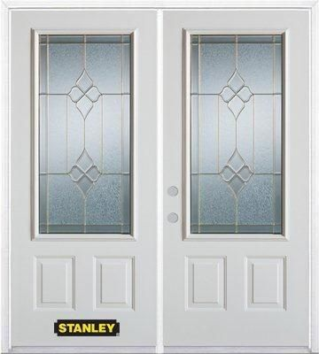 70-inch x 82-inch Beatrice 3/4-Lite 2-Panel White Double Steel Door with Astragal and Brickmould