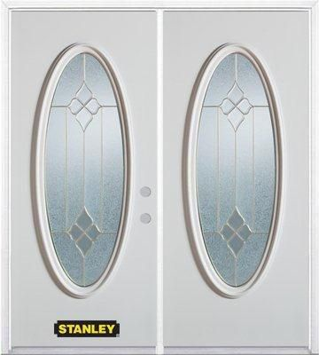 66-inch x 82-inch Beatrice Full Oval Lite White Double Steel Door with Astragal and Brickmould