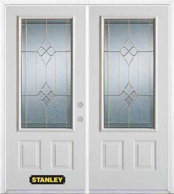 66-inch x 82-inch Beatrice 3/4-Lite 2-Panel White Double Steel Door with Astragal and Brickmould
