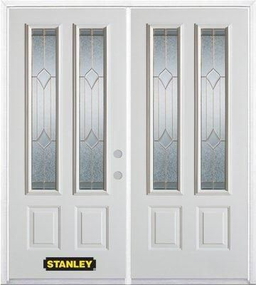 74-inch x 82-inch Beatrice 2-Lite 2-Panel White Double Steel Door with Astragal and Brickmould