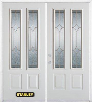 Porte dentrée double en acier préfini blanc, munie de deux panneaux et de deux verre, 66 po x 82 ...