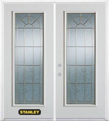 66-inch x 82-inch Elisabeth Full Lite White Double Steel Door with Astragal and Brickmould