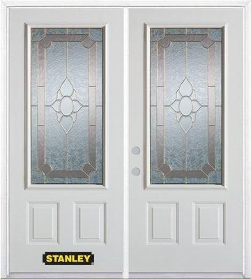74-inch x 82-inch Rochelle 3/4-Lite 2-Panel White Double Steel Door with Astragal and Brickmould