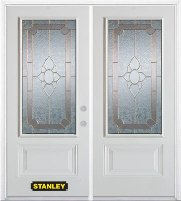 66-inch x 82-inch Rochelle 3/4-Lite 2-Panel White Double Steel Door with Astragal and Brickmould