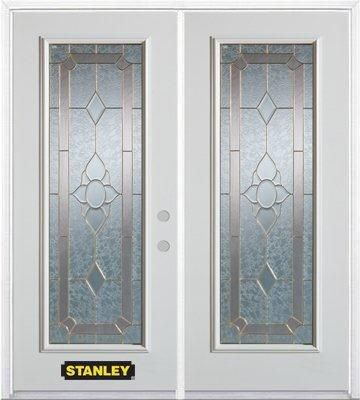 74-inch x 82-inch Rochelle Full Lite White Double Steel Door with Astragal and Brickmould