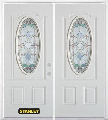 74-inch x 82-inch Aristocrat Oval 3/4-Lite White Double Steel Door with Astragal and Brickmould