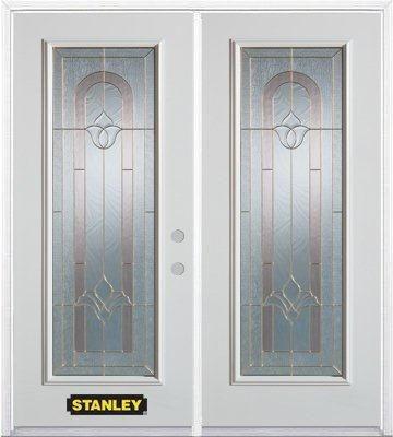 Porte dentrée double en acier préfini blanc, munie d'un panneau de verre, 66 po x 82 po avec astr...