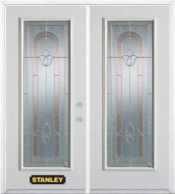 74-inch x 82-inch Marilyn Full Lite White Double Steel Door with Astragal and Brickmould