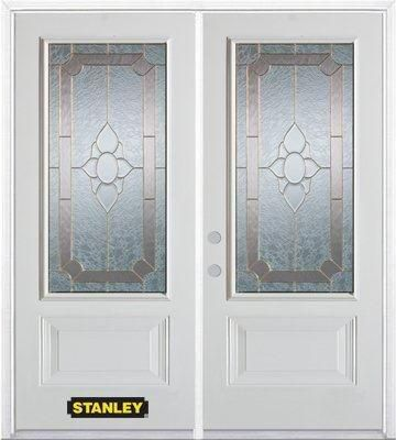 70-inch x 82-inch Rochelle 3/4-Lite 2-Panel White Double Steel Door with Astragal and Brickmould