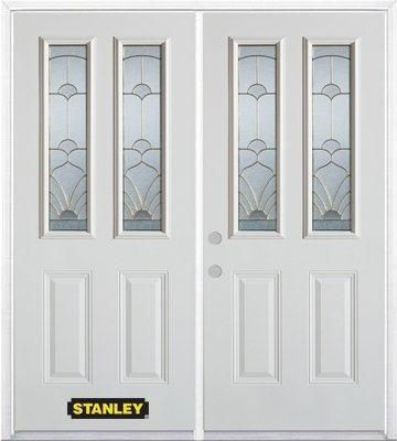 Porte dentrée double en acier préfini blanc, munie de deux panneaux et de deux verre, 74 po x 82 ...