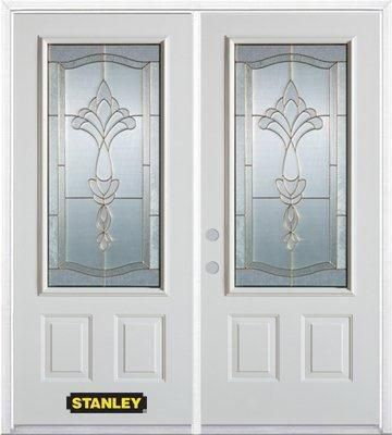66-inch x 82-inch Karina 3/4-Lite 2-Panel White Double Steel Door with Astragal and Brickmould