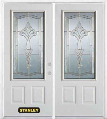 70-inch x 82-inch Karina 3/4-Lite 2-Panel White Double Steel Door with Astragal and Brickmould