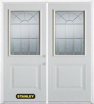 70-inch x 82-inch Elisabeth 1/2-Lite 1-Panel White Double Steel Door with Astragal and Brickmould