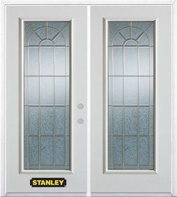 70-inch x 82-inch Elisabeth Full Lite White Double Steel Door with Astragal and Brickmould