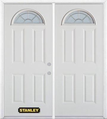 74-inch x 82-inch Elisabeth Fan Lite 4-Panel White Double Steel Door with Astragal and Brickmould