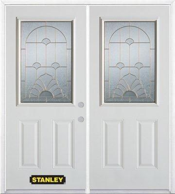 70-inch x 82-inch Florentine 1/2-Lite 2-Panel White Double Steel Door with Astragal and Brickmoul...