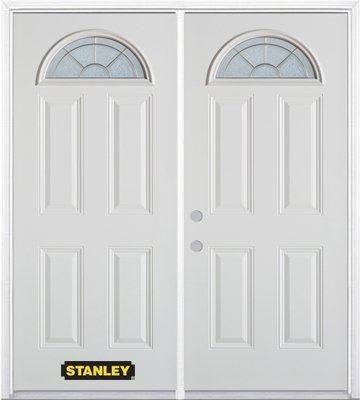 Porte dentrée double en acier préfini blanc, munie de quatre panneaux et dun verre en évantail, 7...