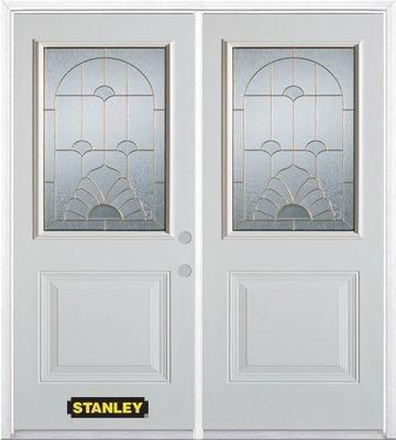 66-inch x 82-inch Florentine 1/2-Lite 1-Panel White Double Steel Door with Astragal and Brickmoul...