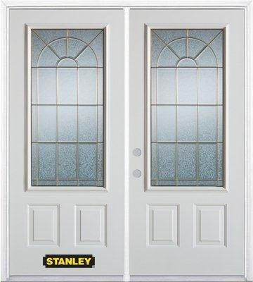 70-inch x 82-inch Elisabeth 3/4-Lite 2-Panel White Double Steel Door with Astragal and Brickmould