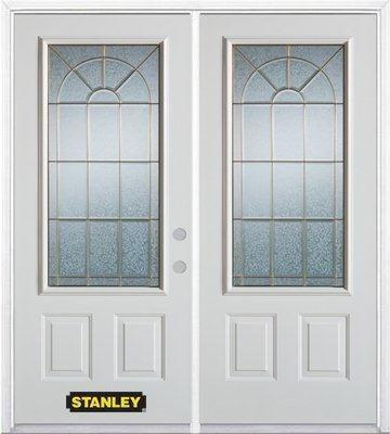 Porte dentrée double en acier préfini blanc, munie de deux panneaux et dun 3/4 verre, 66 po x 82 ...