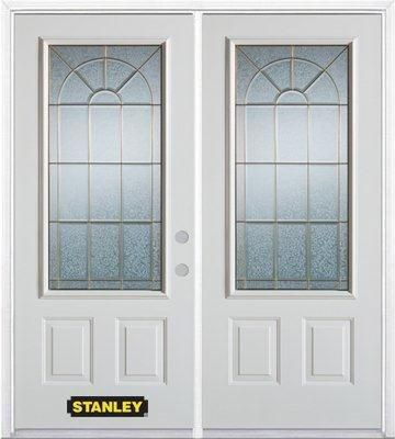 66-inch x 82-inch Elisabeth 3/4-Lite 2-Panel White Double Steel Door with Astragal and Brickmould