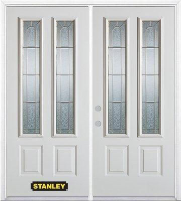 66-inch x 82-inch Elisabeth 2-Lite 2-Panel White Double Steel Door with Astragal and Brickmould