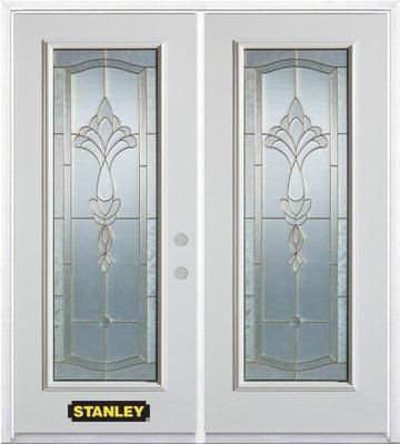 66-inch x 82-inch Karina Full Lite White Double Steel Door with Astragal and Brickmould