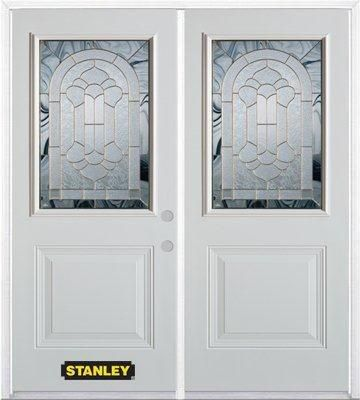 70-inch x 82-inch Radiance 1/2-Lite 1-Panel White Double Steel Door with Astragal and Brickmould
