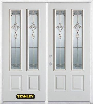 74-inch x 82-inch Karina 2-Lite 2-Panel White Double Steel Door with Astragal and Brickmould