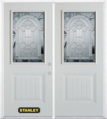 74-inch x 82-inch Radiance 1/2-Lite 1-Panel White Double Steel Door with Astragal and Brickmould