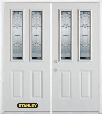 74-inch x 82-inch Radiance 2-Lite 2-Panel White Double Steel Door with Astragal and Brickmould