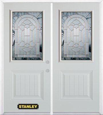Porte dentrée double en acier préfini blanc, munie d'un panneau et dun 1/2 verre, 70 po x 82 po a...