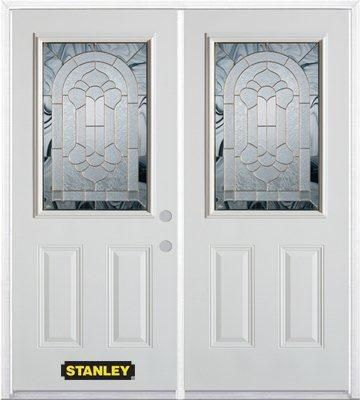 74-inch x 82-inch Radiance 1/2-Lite 2-Panel White Double Steel Door with Astragal and Brickmould