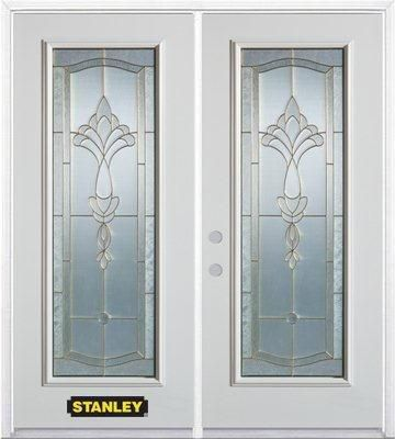 74-inch x 82-inch Karina Full Lite White Double Steel Door with Astragal and Brickmould