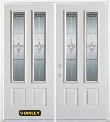 74-inch x 82-inch Florence 2-Lite 2-Panel White Double Steel Door with Astragal and Brickmould