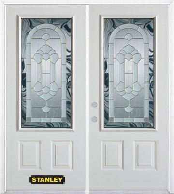 74-inch x 82-inch Radiance 3/4-Lite 2-Panel White Double Steel Door with Astragal and Brickmould