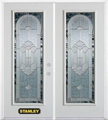 66-inch x 82-inch Radiance Full Lite White Double Steel Door with Astragal and Brickmould