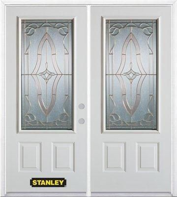 74-inch x 82-inch Florence 3/4-Lite 2-Panel White Double Steel Door with Astragal and Brickmould