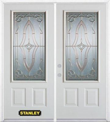 66-inch x 82-inch Florence 3/4-Lite 2-Panel White Double Steel Door with Astragal and Brickmould