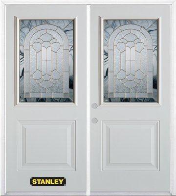 Porte dentrée double en acier préfini blanc, munie d'un panneau et dun 1/2 verre, 74 po x 82 po a...