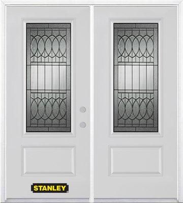 70-inch x 82-inch Nightingale 3/4-Lite 1-Panel White Double Steel Door with Astragal and Brickmou...