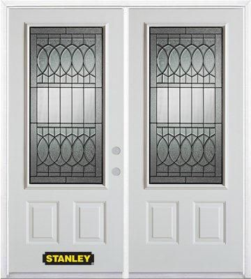 74-inch x 82-inch Nightingale 3/4-Lite 2-Panel White Double Steel Door with Astragal and Brickmou...