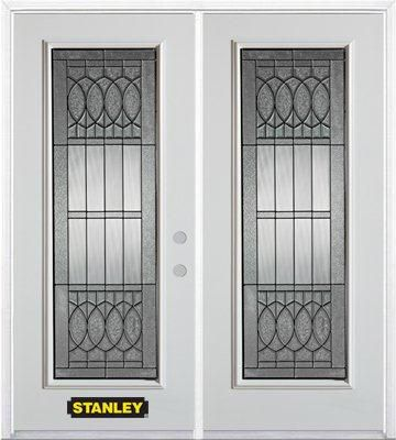 66-inch x 82-inch Nightingale Full Lite White Double Steel Door with Astragal and Brickmould