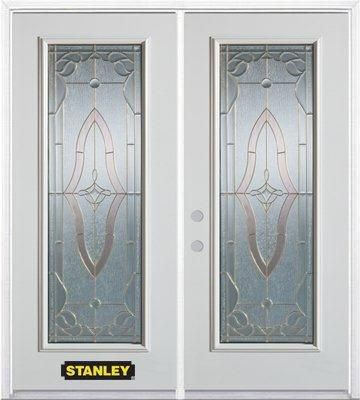 74-inch x 82-inch Florence Full Lite White Double Steel Door with Astragal and Brickmould