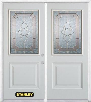 74-inch x 82-inch Rochelle 1/2-Lite 1-Panel White Double Steel Door with Astragal and Brickmould